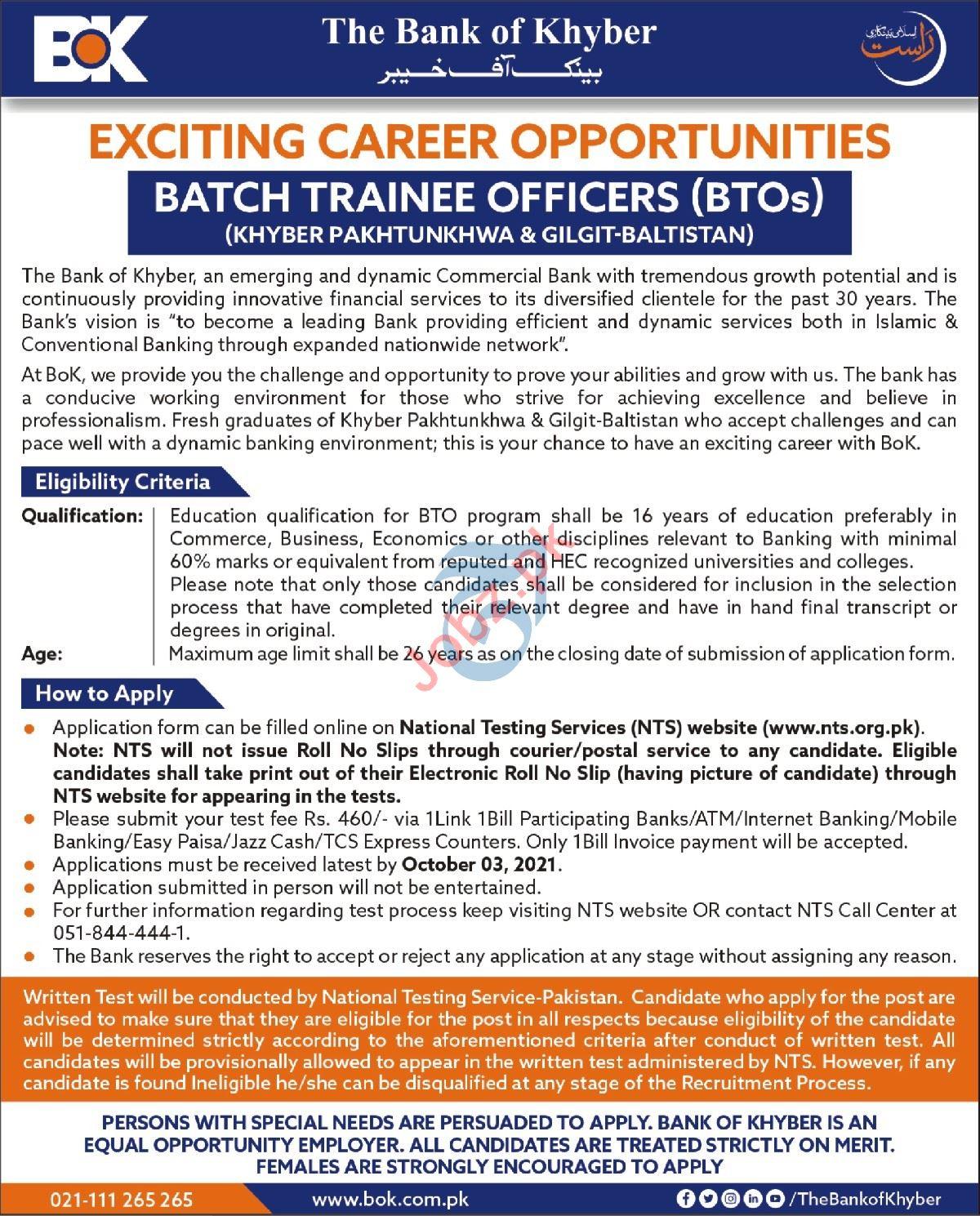The Bank of Khyber BOK Jobs 2021 Via NTS