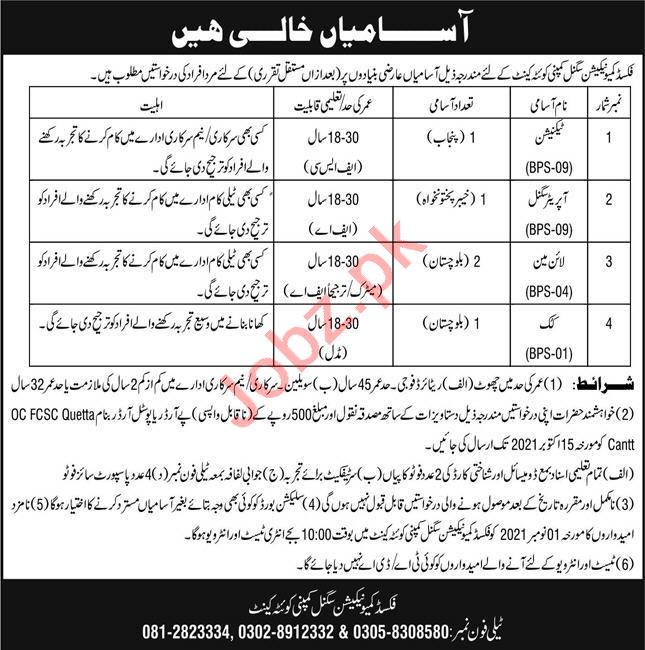 Fixed Communication Signal Company Jobs 2021 in Quetta