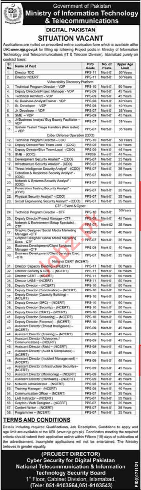 Ministry of IT & Telecommunications Jobs 2021 In Islamabad