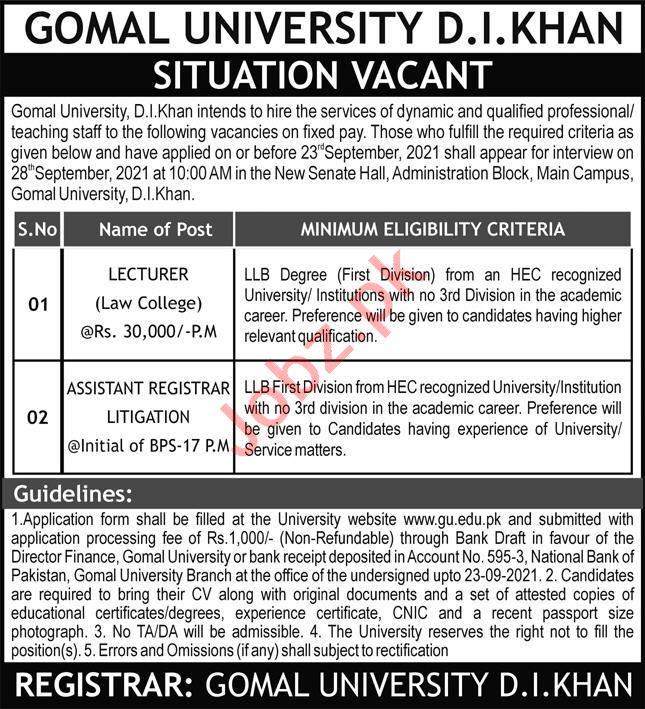 Gomal University DI Khan Jobs 2021