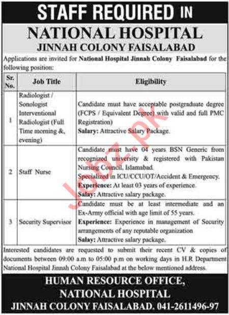 National Hospital Jinnah Colony Faisalabad Jobs 2021
