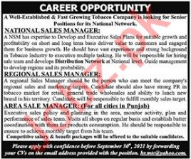 Tobacco Company Jobs 2021 For Sales Staff