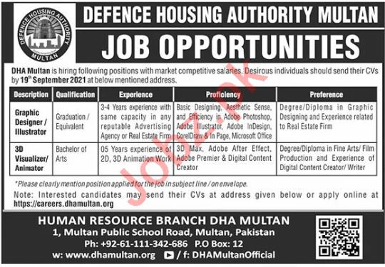 Defence Housing Authority DHA Jobs 2021 In Multan