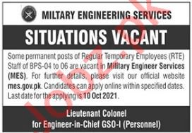 Military Engineer Services MES Jobs 2021 For Technical Staff