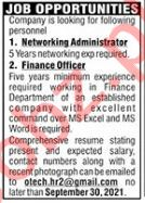 Networking Administrator & Finance Officer Jobs 2021