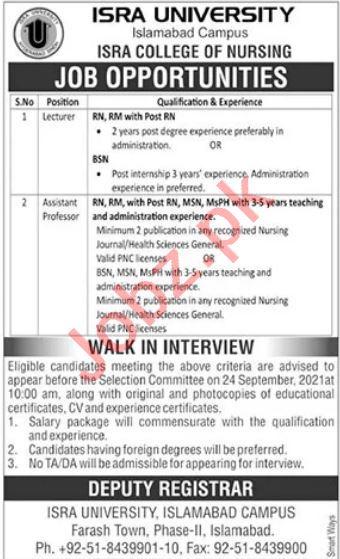 Isra University Islamabad Campus Walk In Interviews
