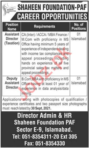 Shaheen Foundation PAF Jobs 2021 In Islamabad