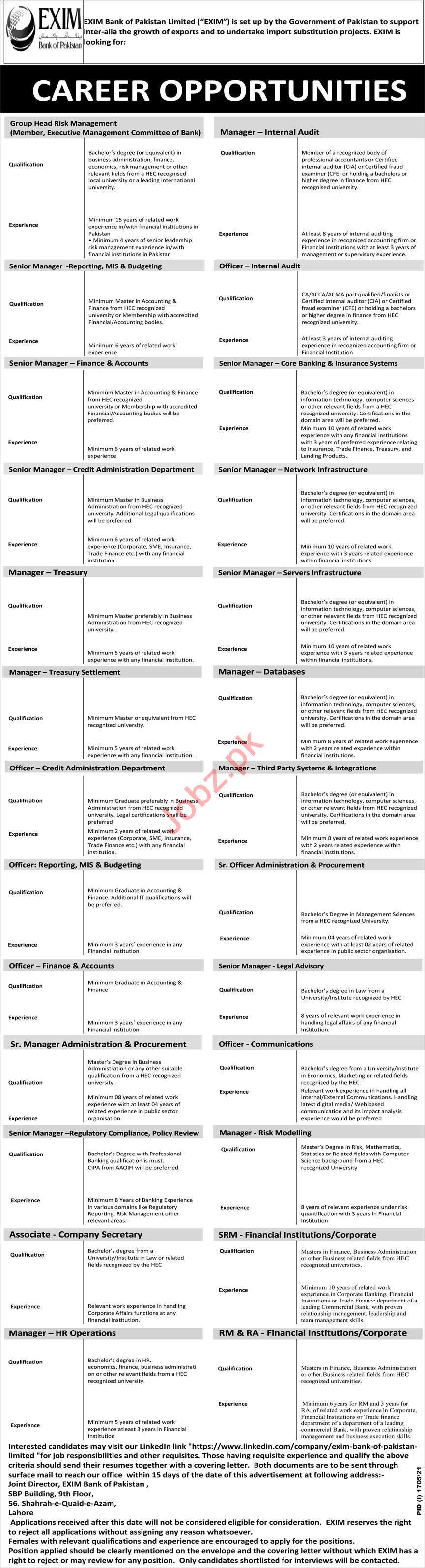 EXIM Bank of Pakistan Limited Management Jobs 2021
