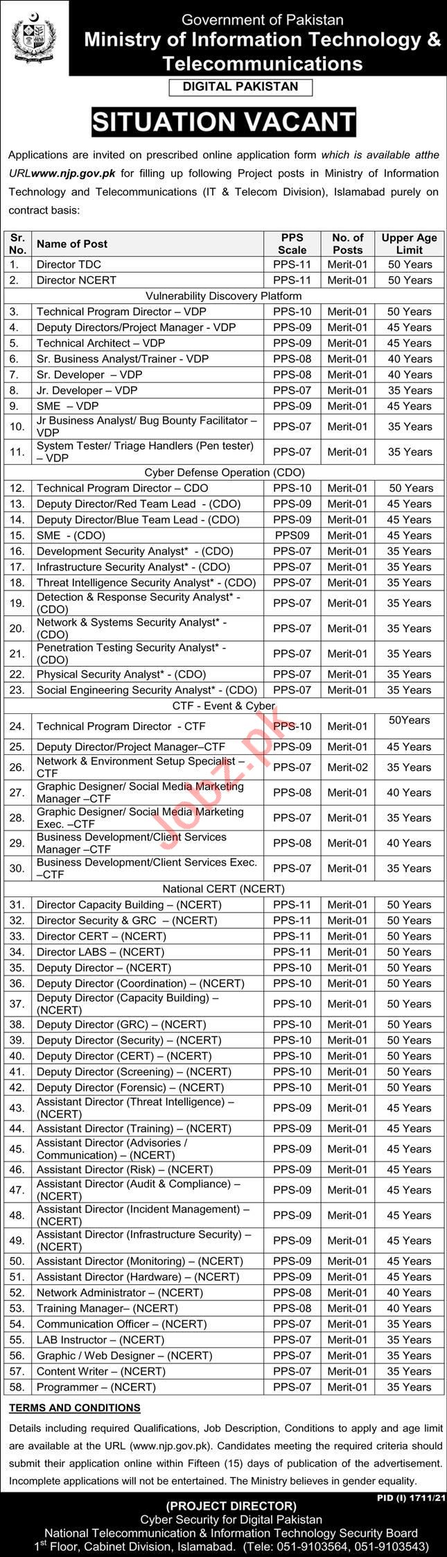 Ministry of IT & Telecommunication Management Jobs 2021
