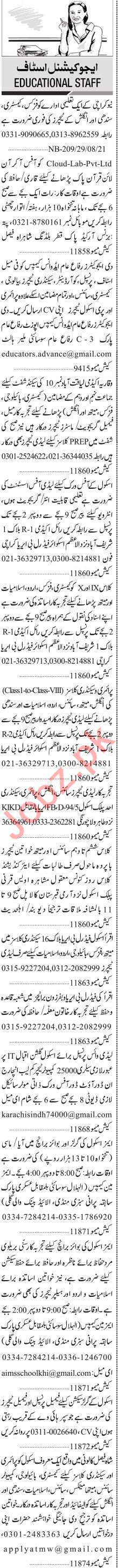 Jang Sunday Classified Ads 19 Sep 2021 for Teaching Staff