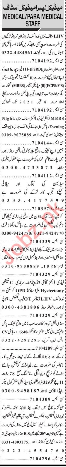 Jang Sunday Classified Ads 19 Sep 2021 for Medical Staff