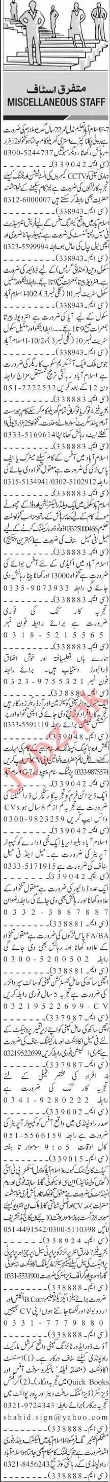 Jang Sunday Classified Ads 19 Sep 2021 for Multiple Staff