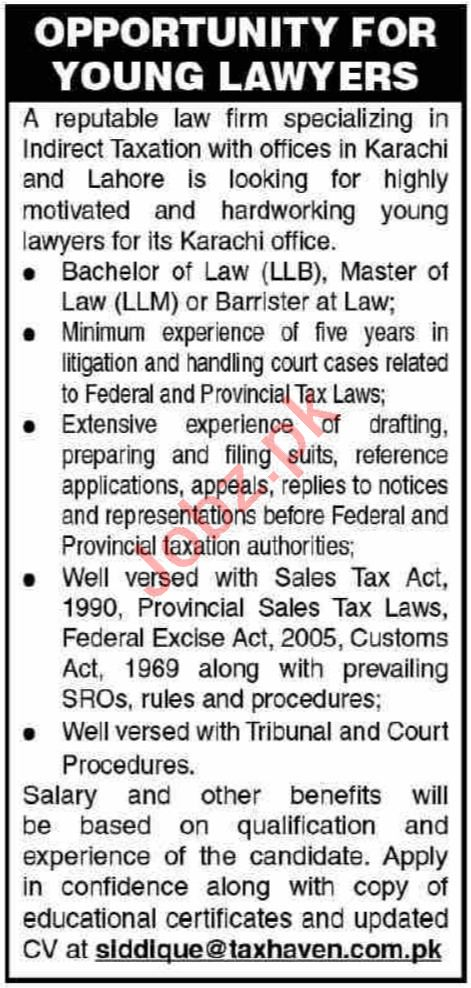 Tax Law Firm Jobs in Karachi