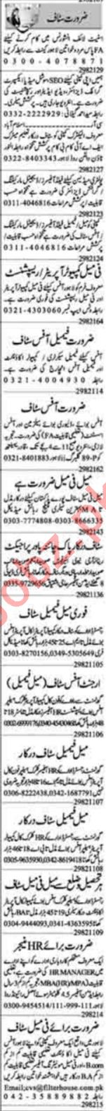 Dunya Sunday Classified Ads 19 Sep 2021 for Office Staff