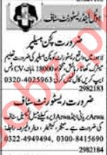 Dunya Sunday Classified Ads 19 Sep 2021 for Hotel Staff