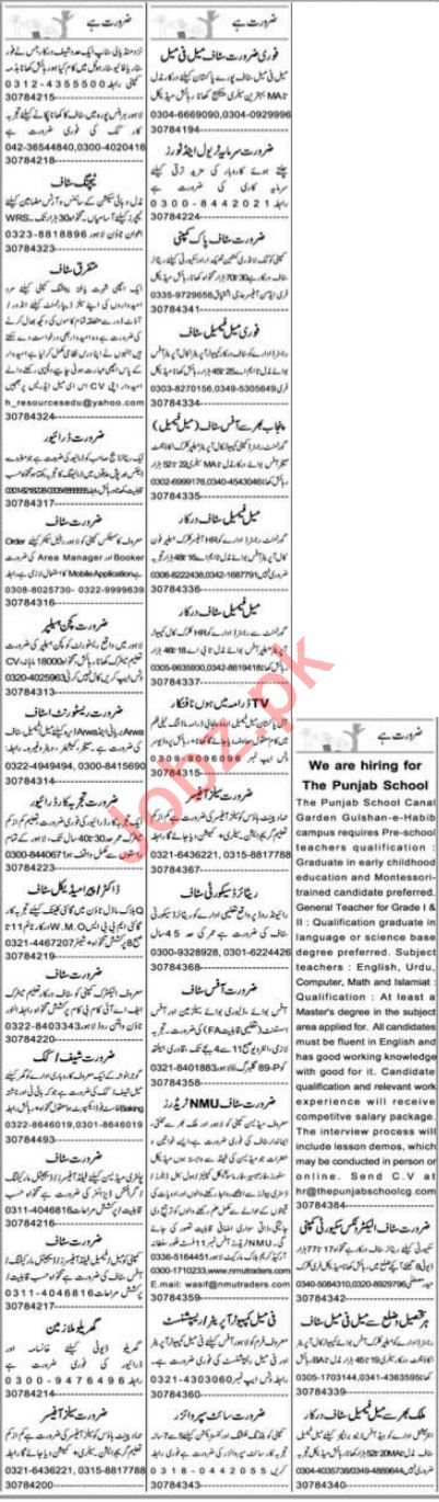 Express Sunday Lahore Classified Ads 19 Sep 2021