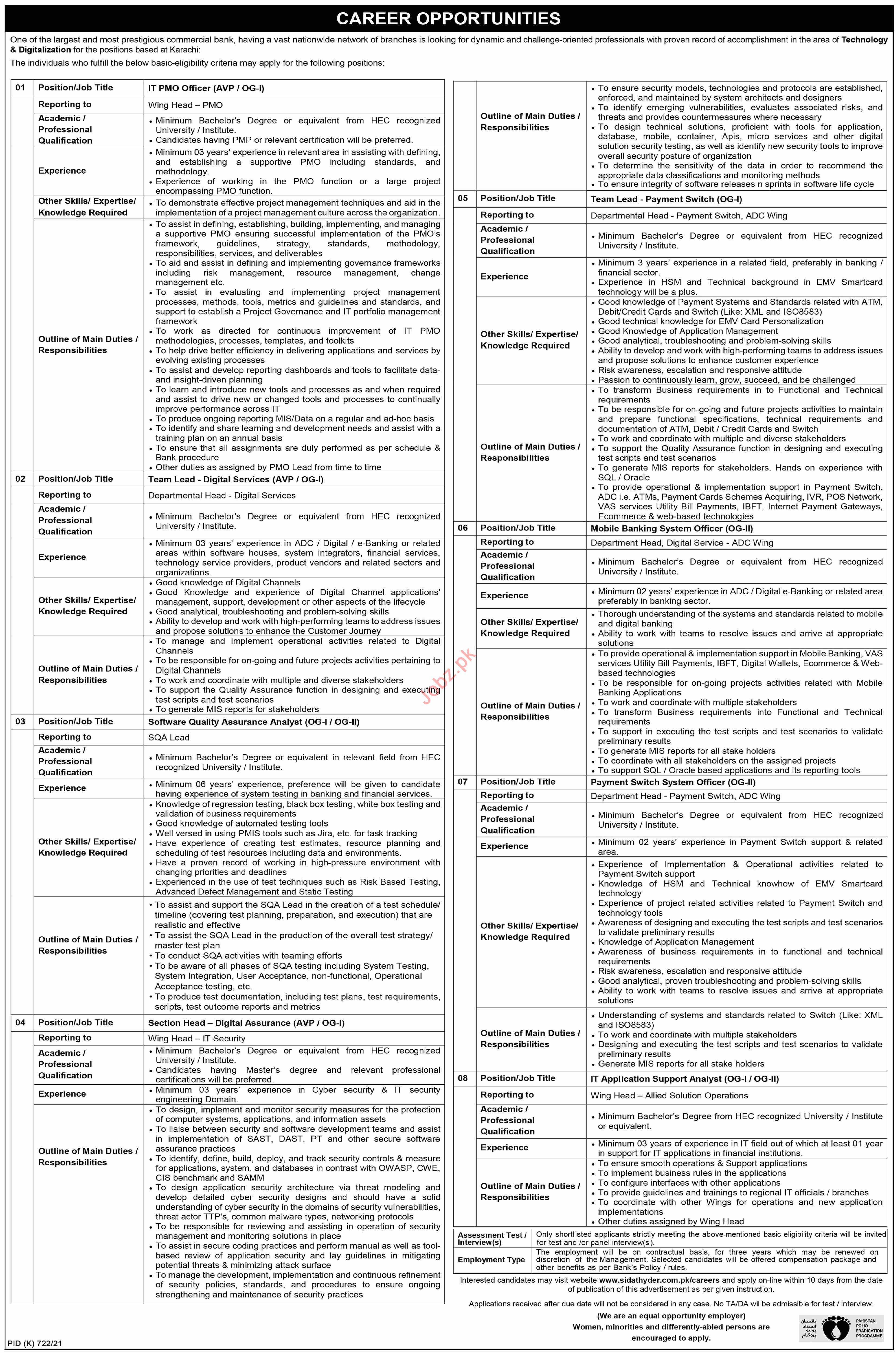 Commercial Bank Jobs in Karachi