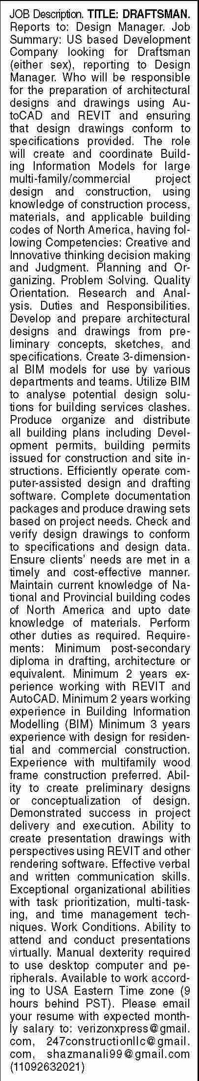 Dawn Sunday Classified Ads 19 Sep 2021 for Engineering Staff