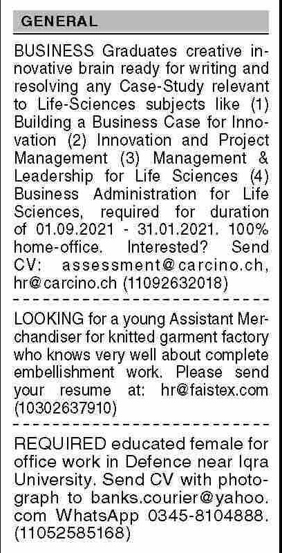 Dawn Sunday Classified Ads 19 Sep 2021 for General Staff