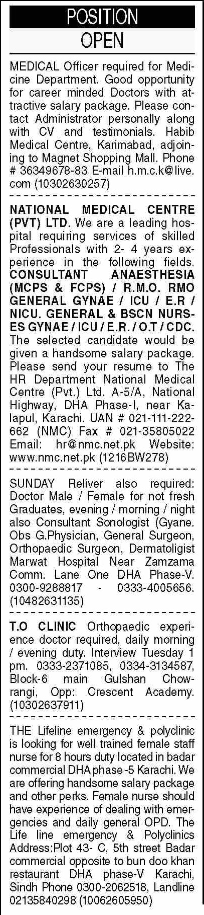 Dawn Sunday Classified Ads 19 Sep 2021 for Medical Staff