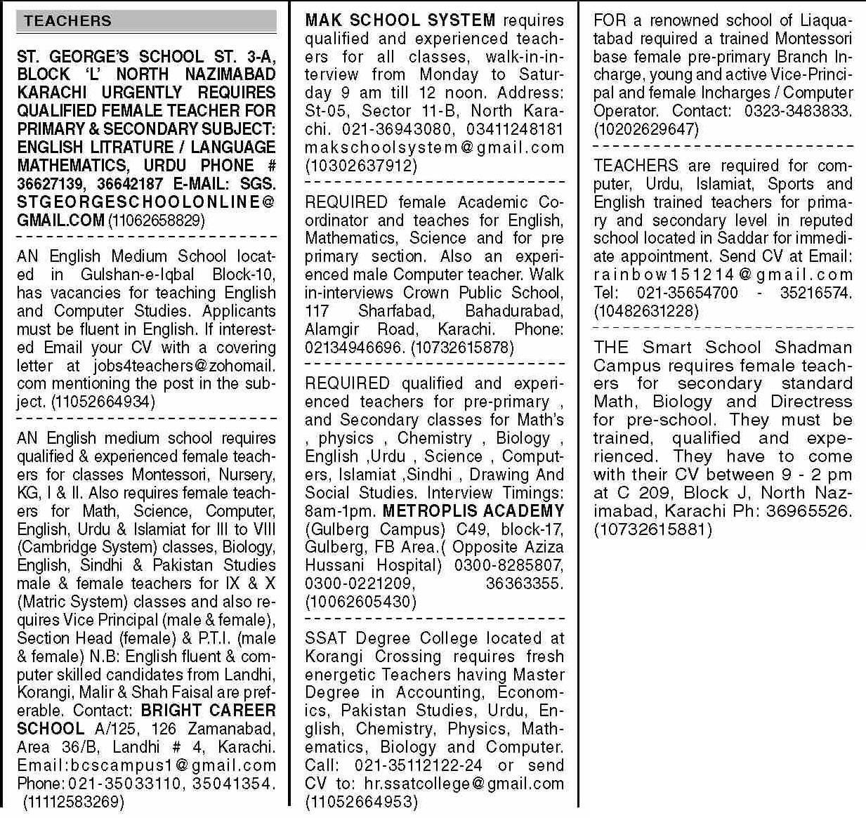 Dawn Sunday Classified Ads 19 Sep 2021 for Teaching Staff