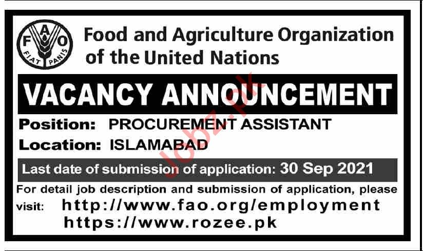 UN Food and Agriculture Organization Jobs 2021