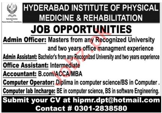 Hyderabad Institute of Physical Medicine Rehabilitation Jobs