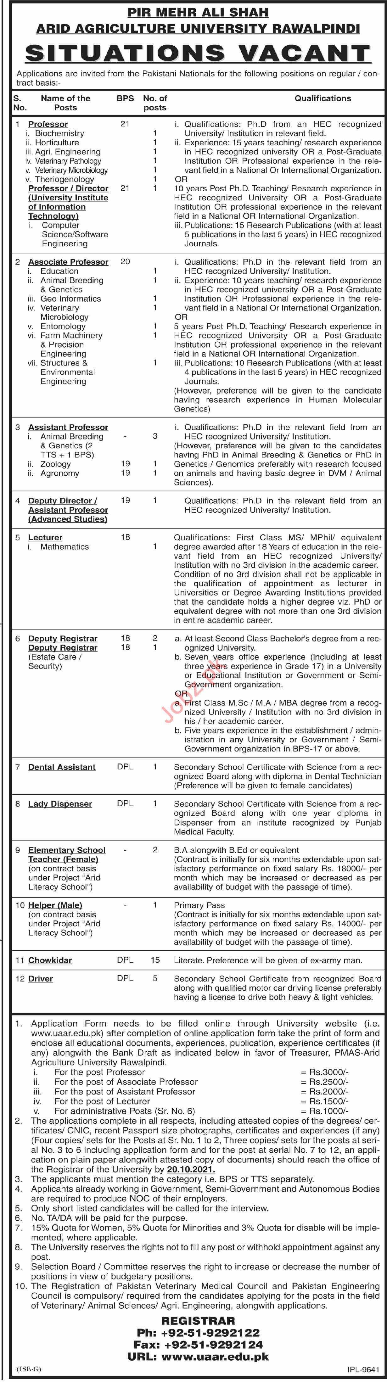 Pir Mehr Ali Shah Arid Agriculture University Jobs 2021
