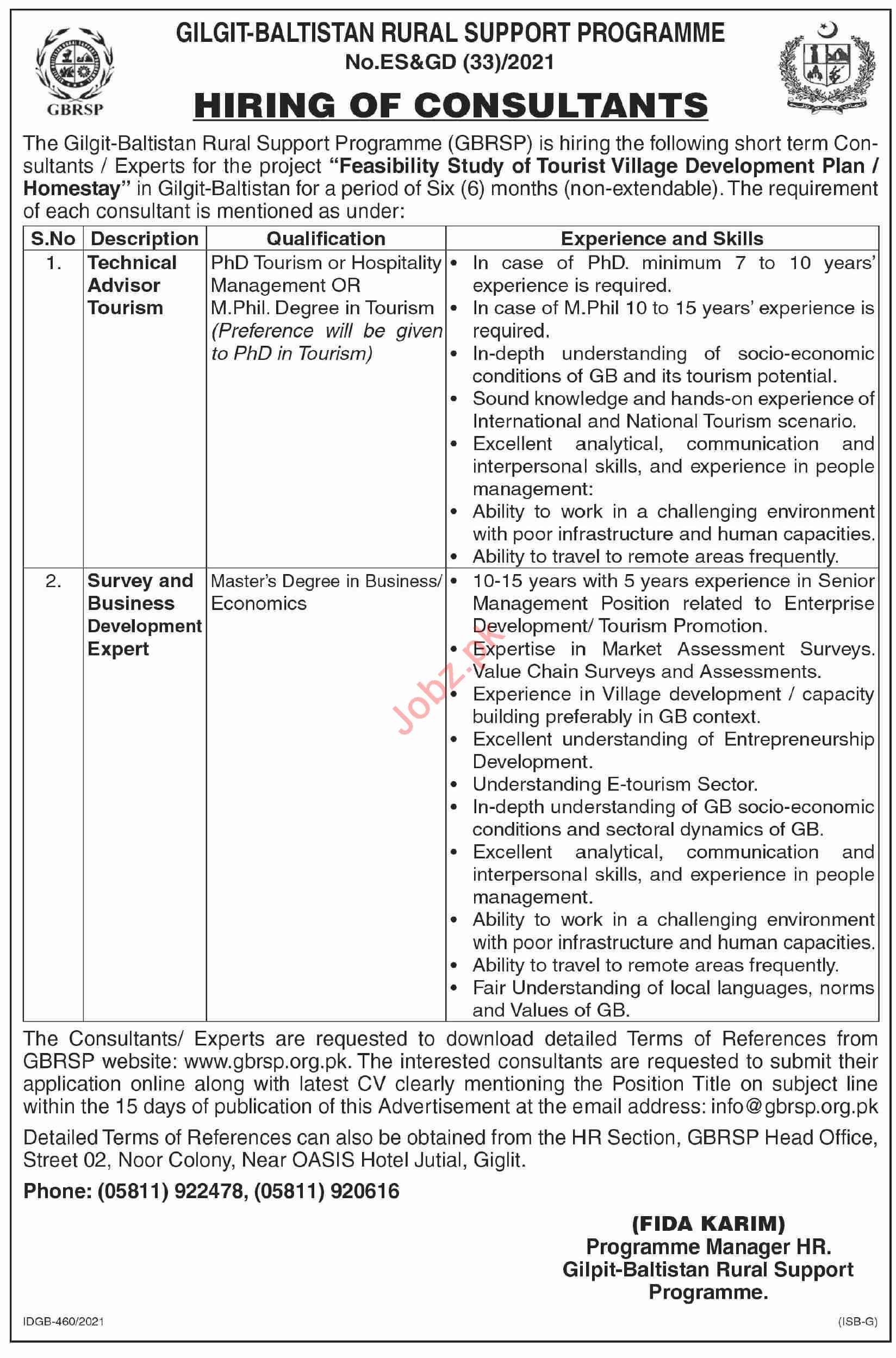 Gilgit Baltistan Rural Support Program GBRSP Jobs 2021
