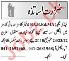 Lady Teacher & Science Teacher Jobs 2021 in Lahore