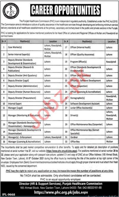 Punjab Healthcare Commission PHC Lahore Jobs 2021 Directors
