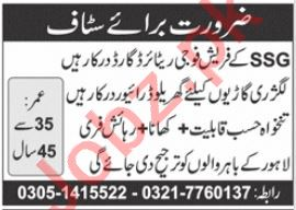 SSG Security Guard & House Driver Jobs 2021 in Lahore