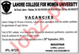 Lahore College for Women University LCWU Jobs 2021 Advisor