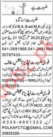 Lady Teacher & Sales Manager Jobs 2021 in Faisalabad