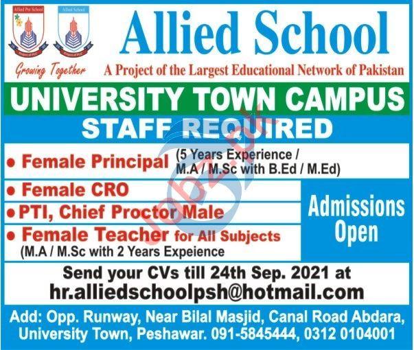 Allied School University Town Campus Peshawar Jobs 2021