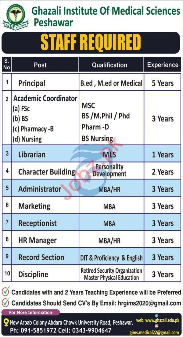 Ghazali Institute of Medical Sciences GIMS Peshawar Jobs