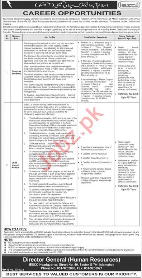IESCO Jobs 2021 for Chief Internal Auditor & Secretary
