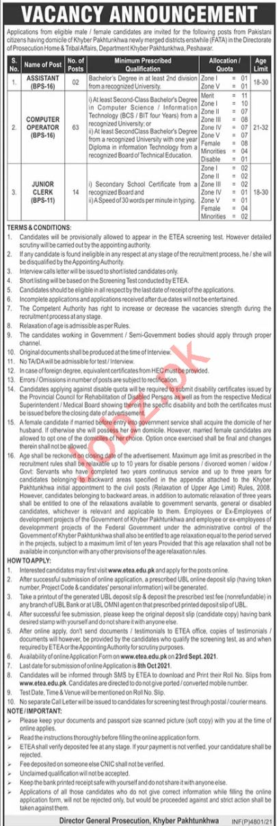 Home & Tribal Affairs Department KP Jobs 2021 for Assistant