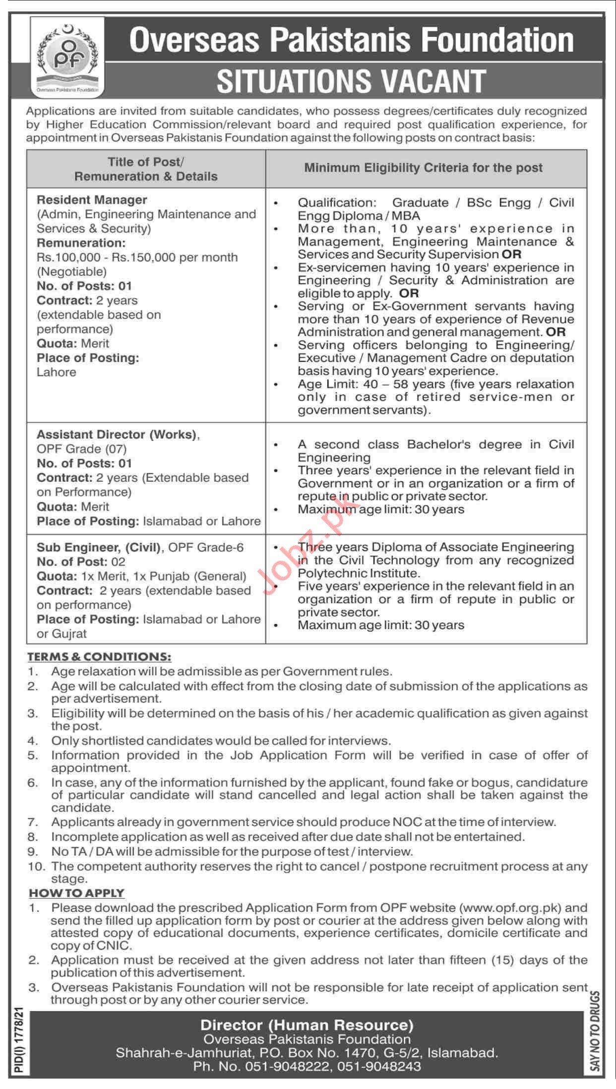 Overseas Pakistanis Foundation OPF Islamabad Jobs 2021