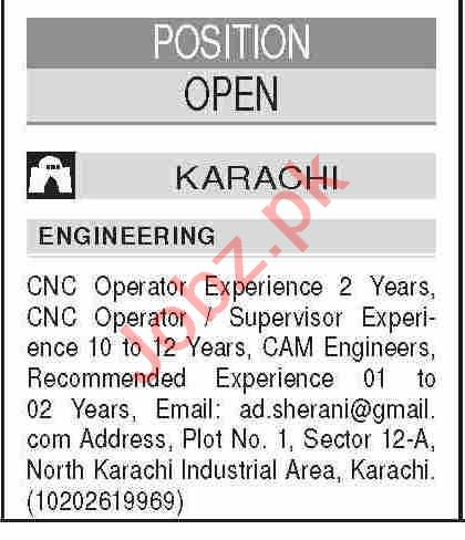 CNC Operator & CNC Supervisor Jobs 2021 in Karachi