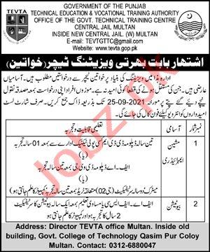 Govt Technical Training Centre Central Jail Multan Jobs 2021