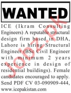 ICE Ikram Consulting Engineers Lahore Jobs 2021 for Engineer