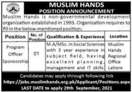 Muslim Hands Regional Office Lahore Jobs 2021