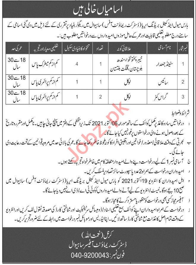 District Remount Officer Horse Mule & Cattle Sahiwal Jobs