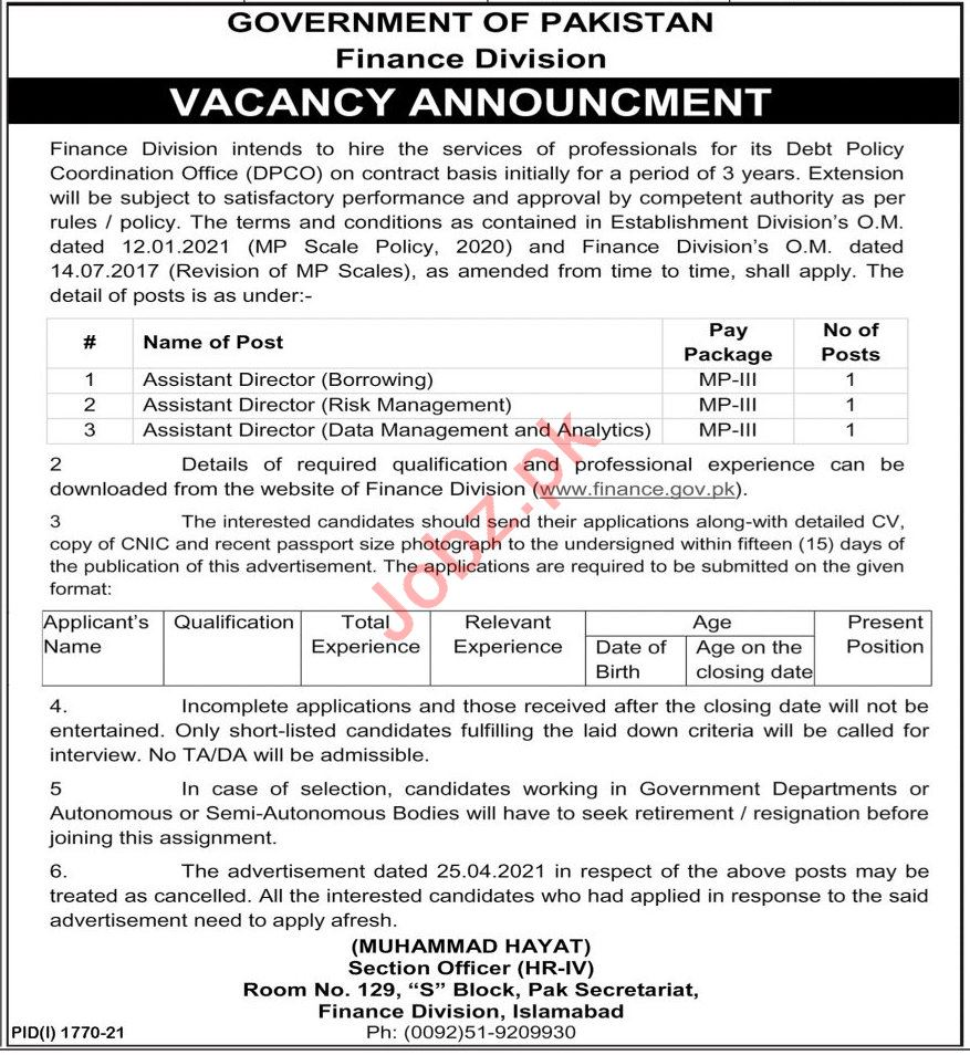 Assistant Directors Jobs 2021 in Finance Division Islamabad