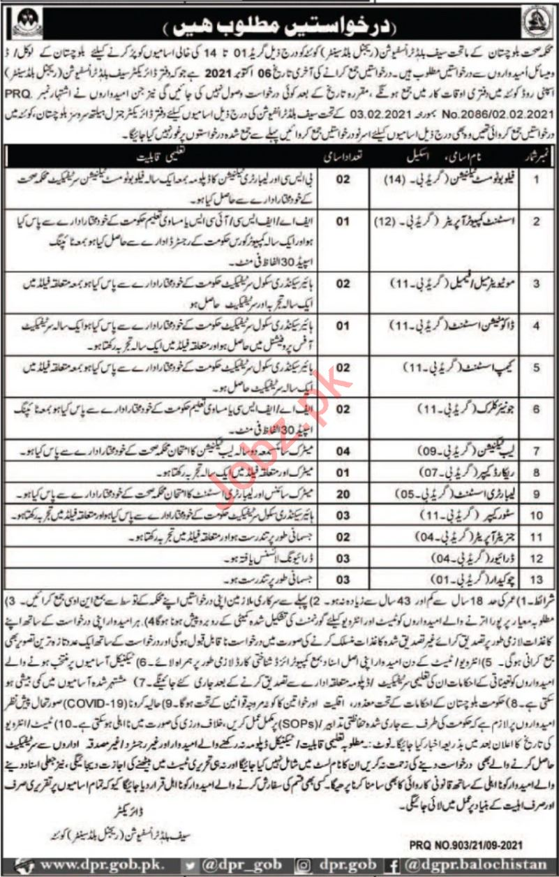Health Department Safe Blood Transfusion Quetta Jobs 2021