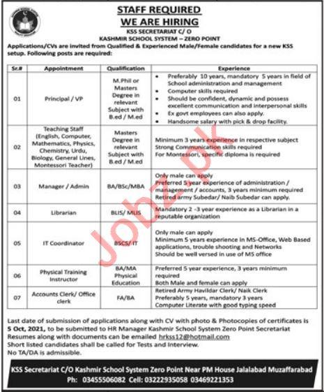 Kashmir School System Muzaffarabad Jobs 2021 for Teachers