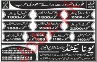 Aluminium Helper & GCC Driver Jobs 2021 in Saudi Arabia