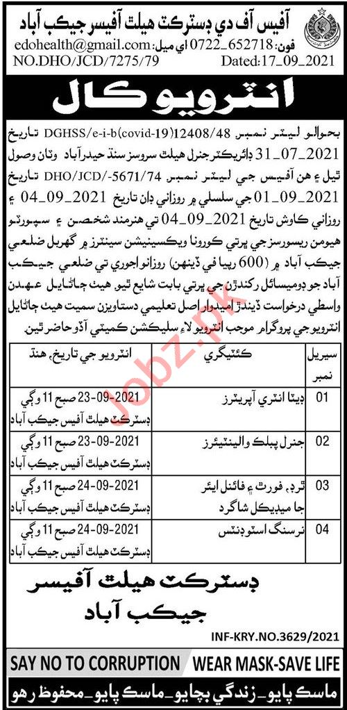 Health Department Jacobabad Jobs 2021 Data Entry Operator