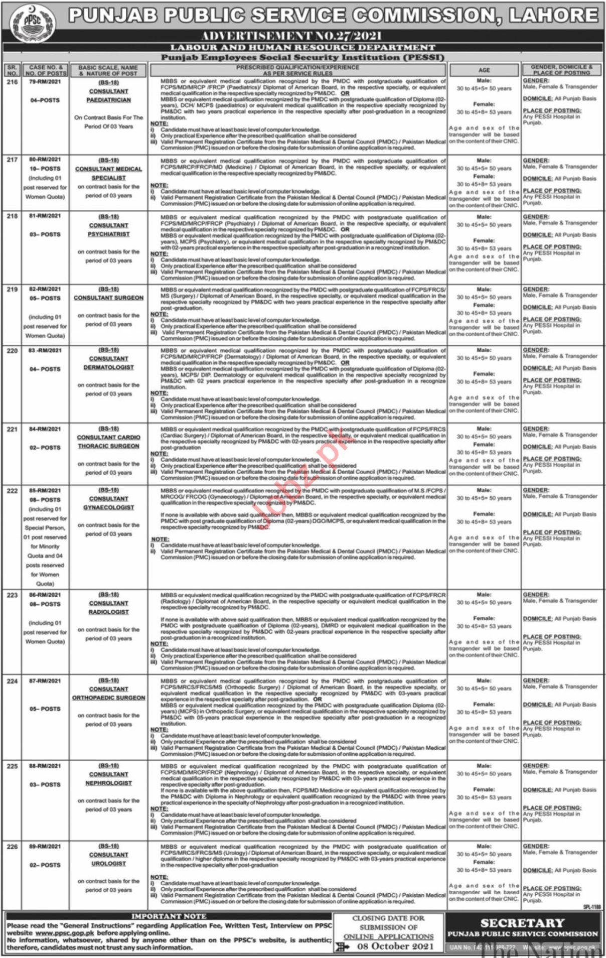 Punjab Public Service Commission PPSC Jobs October 2021